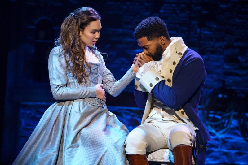 "Julia K. Harriman as Eliza Hamilton and Julius Thomas III as Alexander Hamilton from the ""And Peggy"" company of Hamilton"