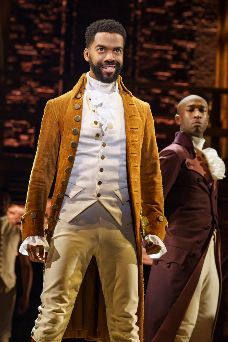"Julius Thomas III as Alexander Hamilton from the ""And Peggy"" company of Hamilton"