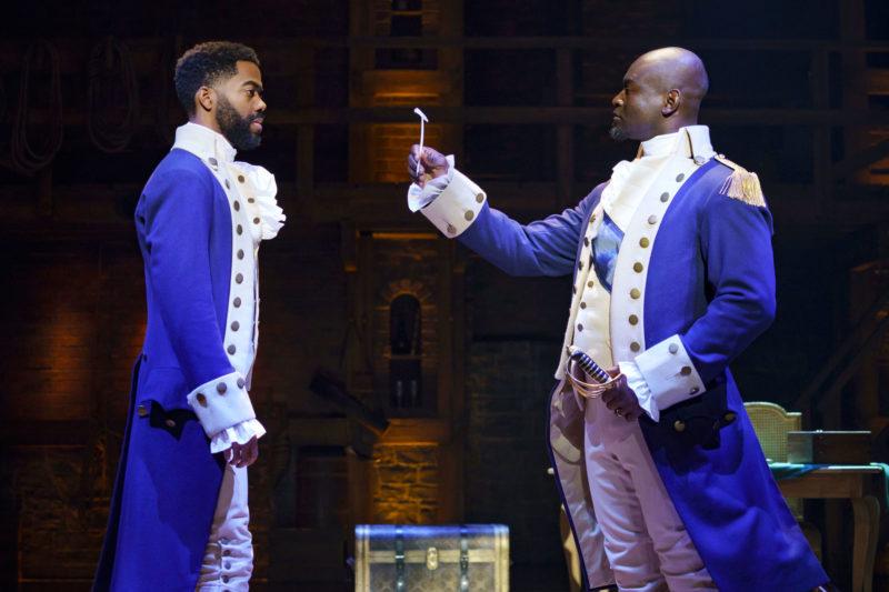 "Julius Thomas as Alexander Hamilton and Isaiah Johnson as George Washington from the ""And Peggy"" company of Hamilton"