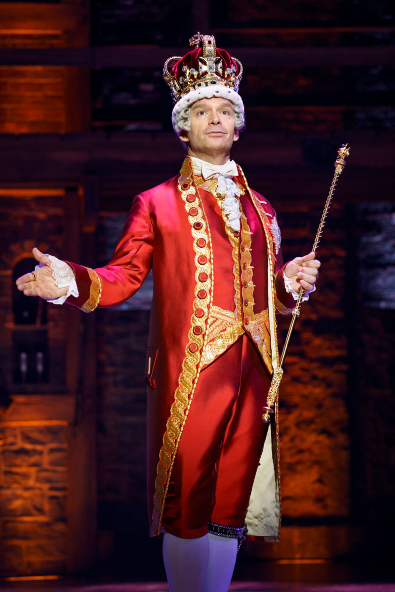 """Rick Negron as King George III from the """"And Peggy"""" company of Hamilton"""