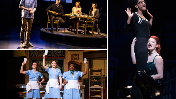Scenes from Dear Evan Hansen, Waitress and Rent.